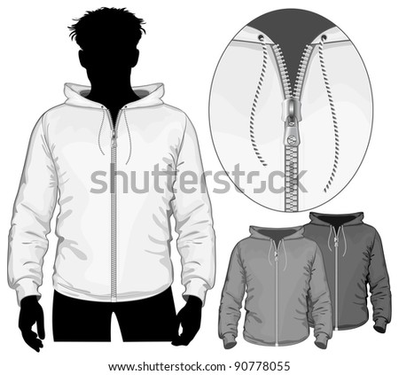 Vector. Hooded sweatshirt with zipper.