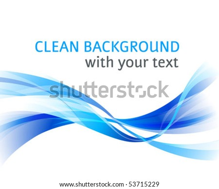 Vector horizontal abstract blue wave clean background