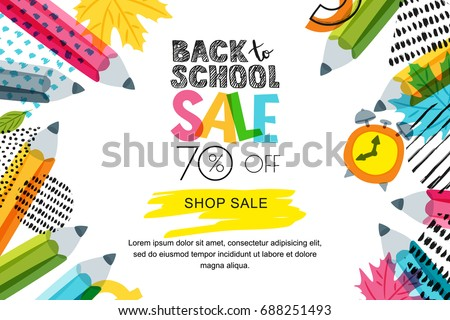 Vector horizontal back to school sale banner, poster background. Hand drawn sketch letters and doodle multicolor pencils on textured background. Layout for discount labels, flyers and shopping.
