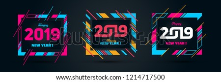 Vector horizontal background frame for text Modern Art graphics for hipsters. Happy New Year 2019 design elements for design of gift cards, brochures, flyers, leaflets, posters. set