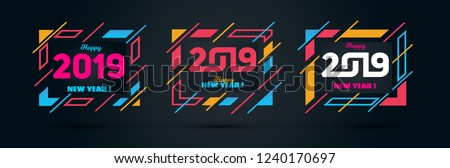 Vector horizontal background frame for text Modern Art graphics for hipsters. Happy New Year 2019 design elements for design of gift cards, brochures, flyers, leaflets, posters. set #1240170697
