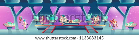 Vector horizontal background with alien spaceship orlop. Astronauts, robots inside the rocket, porthole. Control panel with screens for cockpit. Cosmos cartoon characters and devices.