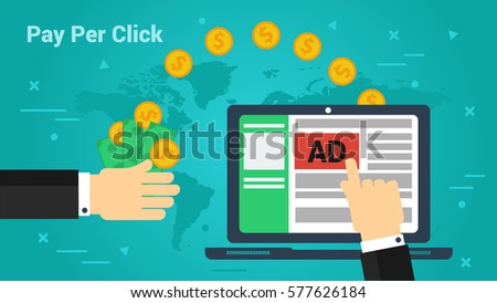 Vector horizontal banner Pay Per Click concept. Hand makes a click on a computer advertising and the other gets to monetize profit in flat style on green-blue background