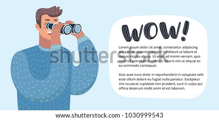 Vector horizontal banner with funny cute colorful funny illustration of person looking through a spyglass, scanning the horizon for new marketing opportunities or spying on the competition.