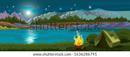 Vector horizontal banner with night mountains, lake, campfire, tent, moon and stars. Camping stock background with forest and riverbanks. Landscape advertisement for recreation and tourism