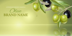 Vector horizontal banner with olive branch on green smooth background with reflection. Design for olive oil, natural cosmetics, health care products. With place for text and your product image