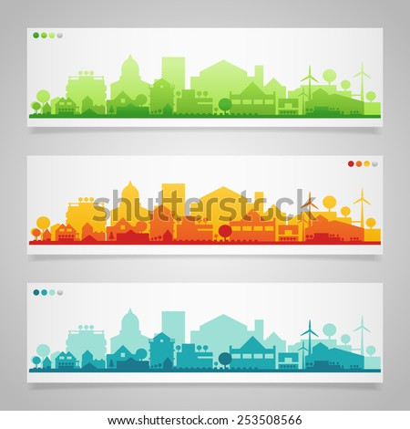 Vector horizontal banners of small town or village.