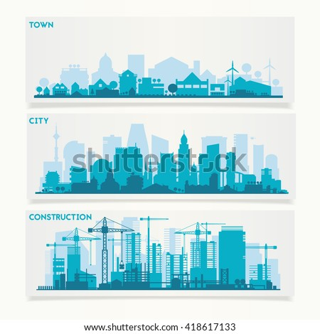 Vector horizontal banners skyline Kit with various parts of city: constructions, factories, refineries and small towns or suburbs. Illustration divided on layers for create parallax effect