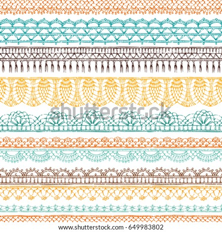 Vector horizontal crochet seamless pattern. Ethnic hand-drawn pattern. Knitted crochet texture, handmade lacy decorations on white background. #649983802