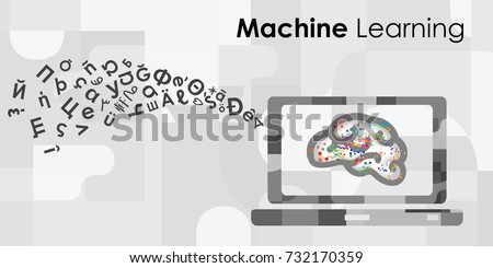 vector horizontal illustration of brain on the laptop monitor with symbols flow for machine learning and artificial intelligence concepts