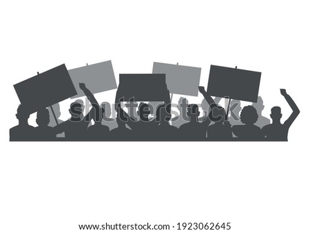 Vector horizontal illustration of protesting people with blank banners in their hands. Men and women participate in a revolution, political protest or rally.Silhouette isolated on a white background. ストックフォト ©