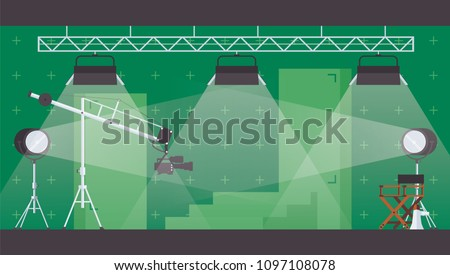 Vector horizontal illustration with chromakey green backdrop for filming and movie making. Flat interior with lighting and searchlight, scenery and director chair