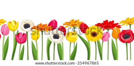 Vector horizontal seamless background with colorful gerbera, tulips and anemone flowers.