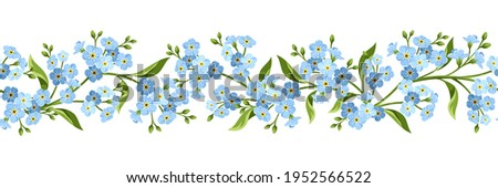 Vector horizontal seamless border with blue forget-me-not flowers on a white background. Stok fotoğraf ©
