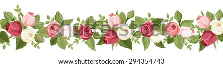 Vector horizontal seamless border with red, pink and white rose buds and green leaves on a white background. #294354743