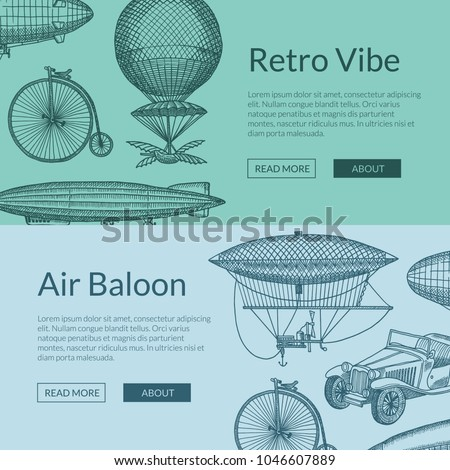 Vector horizontal web banners or poster illustration with steampunk hand drawn airships, bicycles and cars