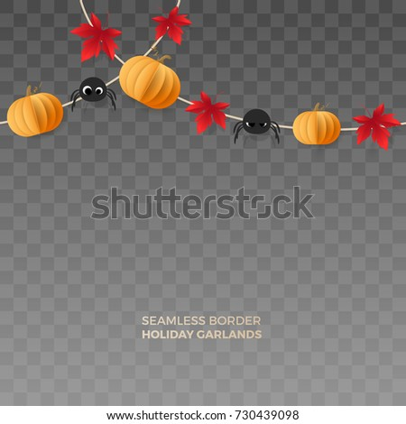 Vector horizontally seamless border with paper party banners of pumpkins, spiders, red maple leaves. Holiday garlands for design Halloween posters and flyers. Isolated from the transparent background.