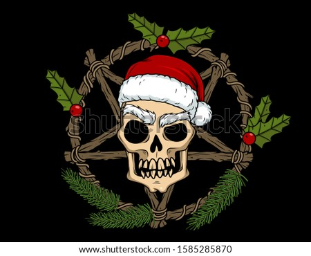 Vector horror art with evil skull of Santa and pentagram for Christmas scary design and decor, t-shirt, poster, cover. Spooky illustration for the New Year party invitation, web page, postcard, logo.