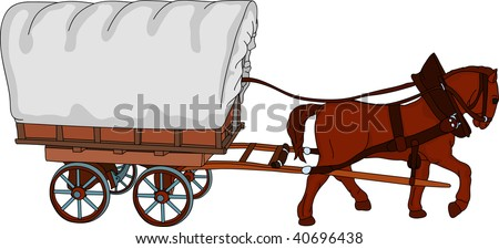 vector - horse cart, the sheet is a place for your text