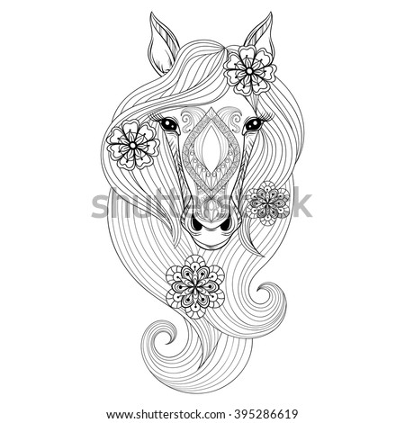 vector horse coloring page