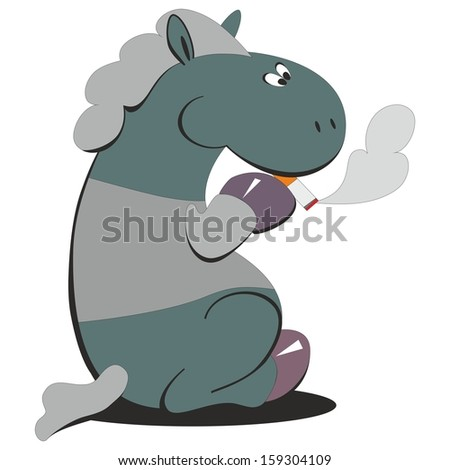 vector horse smokes 007