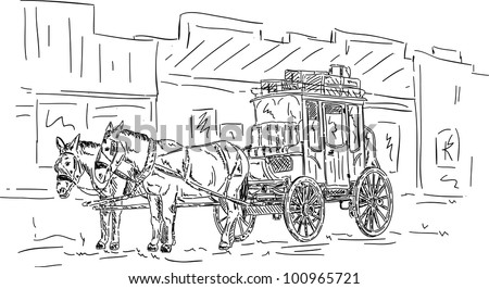 vector - Horse western carriage, hand draw isolated on background