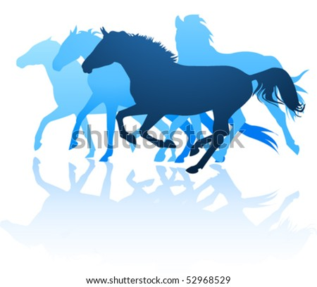 vector horses silhouettes - stock vector