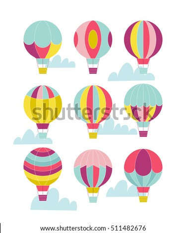 Vector hot air balloon set.