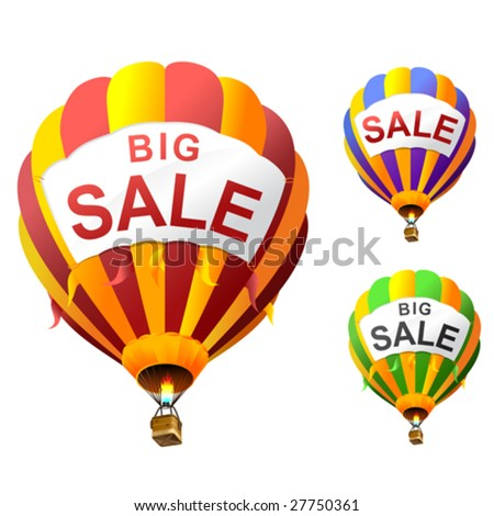 vector hot air balloons with banners