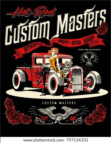 Vector hot rod cars and pin up girls illustration