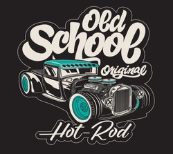 Vector hot rod muscle car print