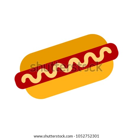 vector hotdog sandwich - fast food illustration