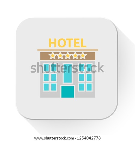 vector hotel. Flat illustration of hotel building. hotel isolated on white background. travel sign symbol. holiday hotel icon