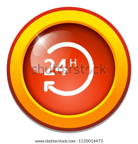 vector 24 hours, support service - 24 hour clock, time sign symbol isolated #1120014473
