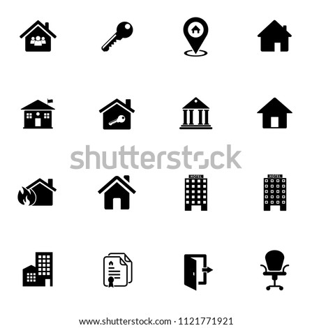 vector house buildings icons set - residential home isolated. real estate illustrations, property object