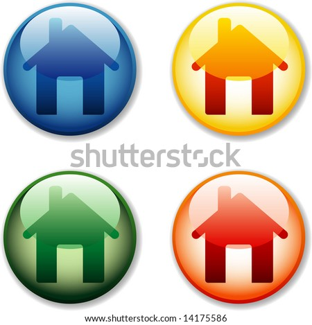 vector house icons for computing and internet