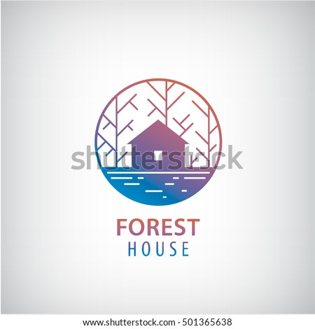 vector house in the woods logo