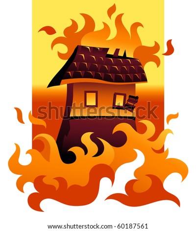 Vector House On Fire