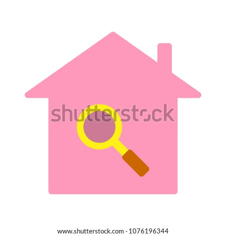 vector house search icon - property real estate symbol, magnifying home element