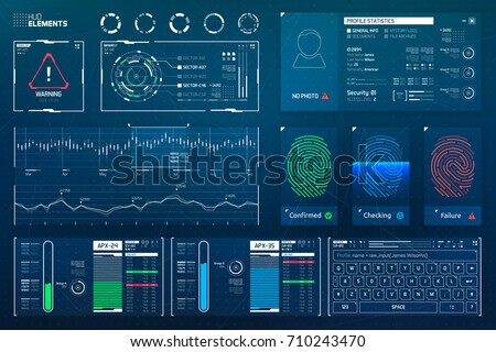 Vector HUD Elements Set for Futuristic User Interface