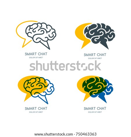 Vector human brain and speech bubble logo, sign, or emblem design. Business forum or chat line icon set. Concept for social network, development and creativity blog.