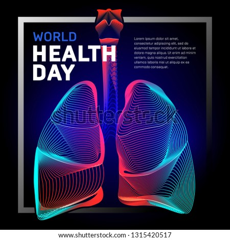 Vector human bronchi lungs anatomy structure with abstract 3d geometry lines and gradient waves art to asthma world tuberculosis health day or medicine respiratory system organ on dark background