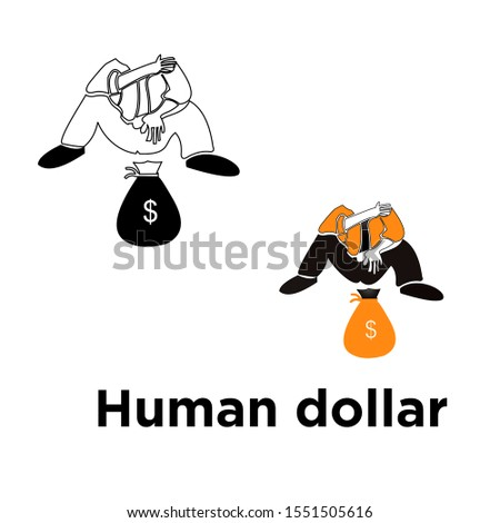 Vector human dollar, human life just chasing dollars without doing anything for humanity