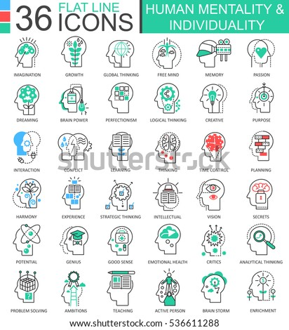 Vector Human mentality individuality flat line outline icons for apps and web design. Human mentality icon.