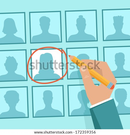 Vector human resources concept hand holding woman icon in flat style