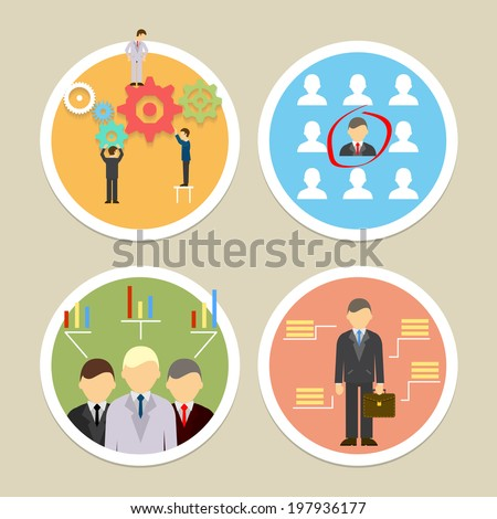 Vector human resources icons. Selecting business professionals and personnel