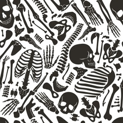 Vector human skeleton seamless pattern with skulls and other various single human parts bones.