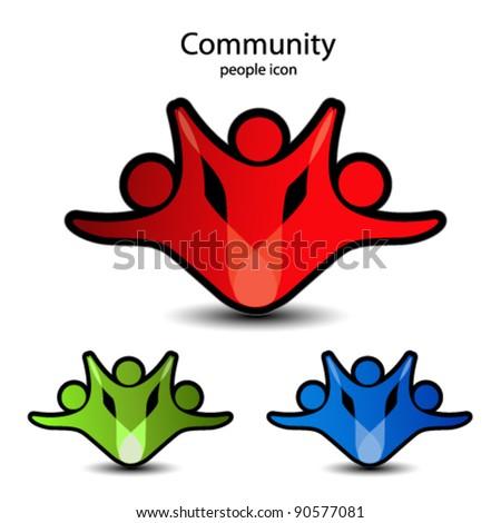 Vector human symbols - community icons - stock vector