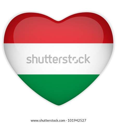 Vector - Hungary Flag Heart Glossy Button