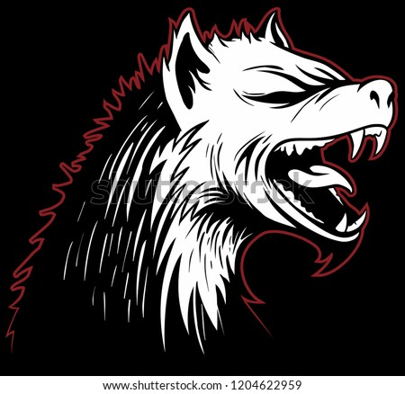 Vector hyena head with a grinning mouth on black background.